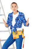 DIY handy woman at her wits end Stock Photos