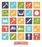 DIY-het Pictograminzameling van de hulpmiddelen Vierkante Kleur royalty-vrije illustratie