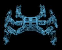DIY hexapod robot. (3D xray blue transparent Royalty Free Stock Photography