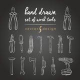 DIY Hilfsmittel Vektorsatz von Hand gezeichnete Arbeitswerkzeuge Werkzeug-Reparatur-Ikonen für Arbeit stock abbildung