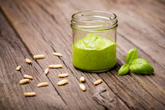 Diy homemade rocket basil pesto Royalty Free Stock Image