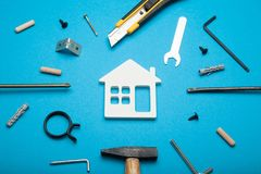 DIY house concept, carpenter construct house royalty free stock photography