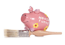DIY house funds piggy bank. Studio cutout Royalty Free Stock Image