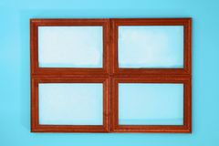 DIY. How to make a winter window with frosty patterns from photo frames and magnesium sulfate powder. Winter holiday decoration fo. R Christmas. Guide, step by royalty free stock images