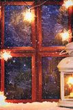 DIY. How to make a winter window with frosty patterns from photo frames and magnesium sulfate powder. Winter holiday decoration fo. R Christmas. Guide, step by stock images