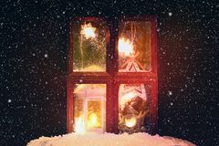 DIY. How to make a winter window with frosty patterns from photo frames and magnesium sulfate powder. Winter holiday decoration fo. R Christmas. Guide, step by royalty free stock photo