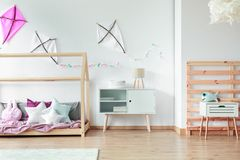 DIY kites in creative bedroom Royalty Free Stock Photography