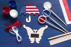 DIY Lembranças e presentes da pintura para o Dia da Independência o 4 de julho Fotografia de Stock