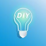 DIY in light bulb shape. Do it your self creative idea concept icon.Vector illustration Stock Photos