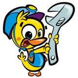DIY lo hacen usted mismo fontanería de la fijación del fontanero del pato del bebé de la historieta Imagenes de archivo