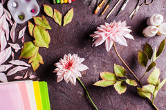 DIY making realistic flowers Royalty Free Stock Images
