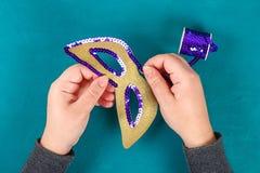 Diy maskeradmaskering Mardi Gras, feta tisdag arkivfoto