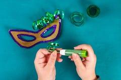 Diy maskeradmaskering Mardi Gras, feta tisdag arkivbilder