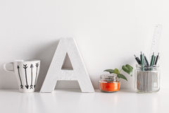 Diy Office Decoration On White Background. Stock Photography