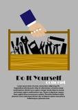 DIY płaski plakat z narzędziami Zdjęcia Royalty Free