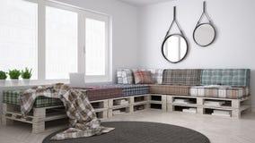 DIY pallet couch sofa, scandinavian white living, interior desig Royalty Free Stock Photo