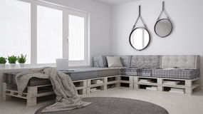 DIY pallet couch sofa, scandinavian white living, interior desig. N Royalty Free Stock Photos