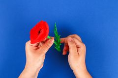 Diy paper red poppy Anzac Day, Remembrance, Remember, Memorial day crepe paper on blue background. 34 Diy paper red poppy Anzac Day, Remembrance, Remember royalty free stock images