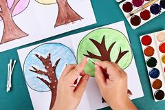 Diy paper tree four seasons summer, autumn, winter, spring. Tree 4 season. Childrens creativity. 7 Diy paper tree four seasons summer, autumn, winter, spring royalty free stock photography