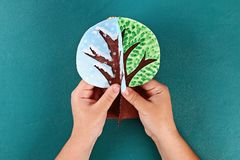 Diy paper tree four seasons summer, autumn, winter, spring. Tree 4 season. Childrens creativity. Gift idea, decor. Step by step. Top view. Process kid children stock photos