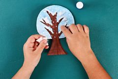 Diy paper tree four seasons summer, autumn, winter, spring. Tree 4 season. Childrens creativity. 20 Diy paper tree four seasons summer, autumn, winter, spring royalty free stock images