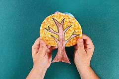 Diy paper tree four seasons summer, autumn, winter, spring. Tree 4 season. Childrens creativity. Gift idea, decor. Step by step. Top view. Process kid children royalty free stock images