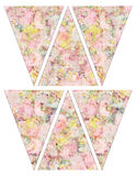 DIY Printable shabby chic Vintage style banner bunting garland flags with vintage pink and yellow roses Royalty Free Stock Photo