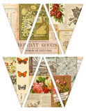 DIY Printable Vintage style banner bunting garland flags with collaged old magazines Stock Photo
