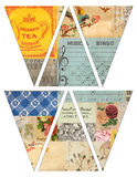 DIY Printable Vintage style banner bunting garland flags with collaged old magazines Stock Photos