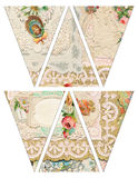 DIY Printable Vintage style banner bunting garland flags with collaged vintage victorian valentine`s Stock Photo