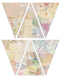 DIY Printable Vintage style banner bunting garland flags with collaged vintage wallpaper Stock Photo