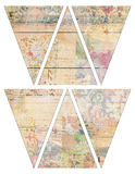 DIY Printable Vintage style banner bunting garland flags with collaged vintage wallpaper and wood background Royalty Free Stock Photo