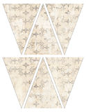 DIY Printable Vintage style banner bunting garland flags grungy stars. Printable Vintage style banner bunting garland flags grungy beige with stars - print and royalty free illustration