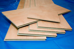 DIY project: laminate floor planks (unused and cut) Stock Photography