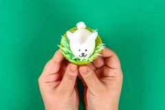 Diy rabbit from eggs for Easter stock photos