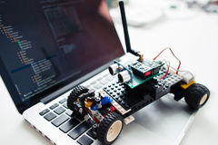 Diy rc car made on base of microcontroller. UKRAINE, KHARKIV- OCTOBER 1 ,2016. Diy rc car made on base of Arduino Pro Micro microcontroller and construction Lego