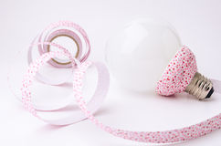 DIY Ribbon and Lamp for decorate in home. Royalty Free Stock Photos