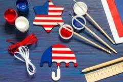 DIY Ricordi e regali della pittura per la festa dell'indipendenza il 4 luglio Immagine Stock Libera da Diritti