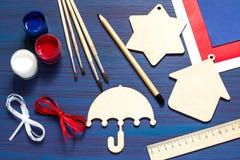 DIY Ricordi e regali della pittura per la festa dell'indipendenza il 4 luglio Immagini Stock