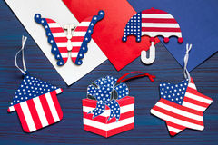 DIY Ricordi e regali della pittura per la festa dell'indipendenza il 4 luglio Fotografia Stock Libera da Diritti
