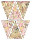 DIY rocznika stylu sztandaru chorągiewki girlandy Printable podławe modne flaga z rocznik różowymi i żółtymi różami Obraz Stock