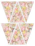 DIY rocznika stylu sztandaru chorągiewki girlandy Printable podławe modne flaga z rocznik różowymi i żółtymi różami Zdjęcie Royalty Free
