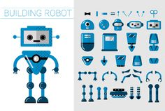 DIY Set of vector robots details in flat cartoon style. Cute Cartoon Robotic separate parts for creation of Artificial. Intelligence Cartoon robots. Head, hands stock illustration