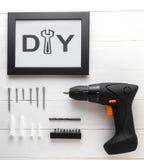 DIY si dirigono il set di strumenti della decorazione per la cornice Installazione della parete della struttura della foto Immagini Stock Libere da Diritti