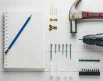 DIY si dirigono le attrezzature della decorazione interna messe Fotografia Stock Libera da Diritti