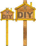 Diy Signs with Wooden Ruler Royalty Free Stock Photography