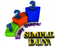DIY simple easy steps. Do it yourself in simple and easy steps, just 1,2 and 3, concept of step by step self guided help Stock Image