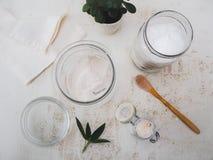DIY ställde in med ingredienser som kokosnötolja och sodavatten för hemlagat arkivfoton
