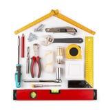 DIY - strumenti domestici di miglioramento e di rinnovamento su bianco fotografie stock