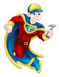 DIY Super Hero. Cartoon builder, handyman, DIY or carpenter superhero mascot holding a hammer royalty free illustration